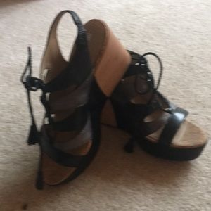 Geox wedge black leather sandals